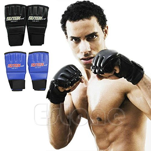 Amrka Half Finger Mitts Punching Bag Sparring Boxing Gloves for Cool MMA Muay Thai Training Gym (Black)