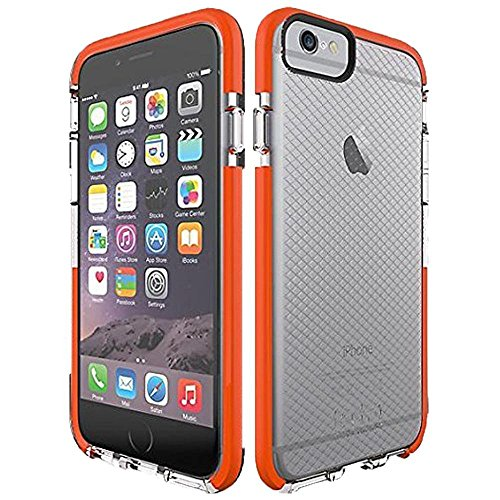 iPhone 6s Plus Case, Tech21 Classic Check Clear/Orange Slim Drop Protection Case for iPhone 6 Plus and 6s Plus