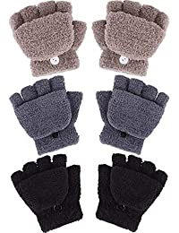 Boao 3 Pairs Kids Fingerless Mittens Convertible Flip Top Gloves Soft Knitted Gloves (Color Set 2)