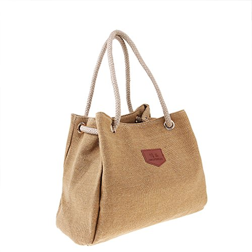 Shoulder Brown Handle Hobo Women's Work Top Prettyia Tote Canvas Simple Crossbody Bag Shopping Bag Handbags 6zcqY