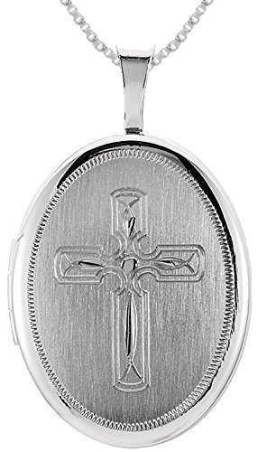 0.925 Sterling Silver Oval Cross Locket Pendant 1.5mm Box Chain Necklace