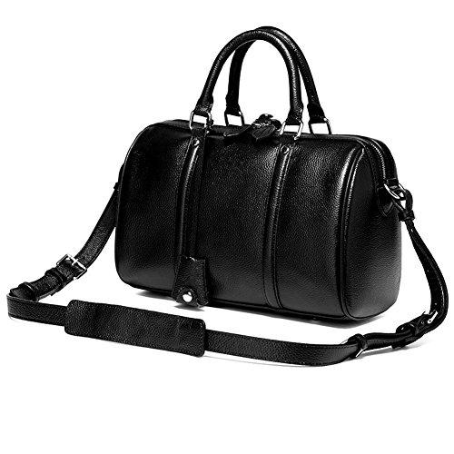Moonsister Mode Damen Boston Tasche Kissen Tasche, Echts Leder Umhängetasche Schultertasche Handtasche für Freizeit und Einkaufen, Schwarz Schwarz