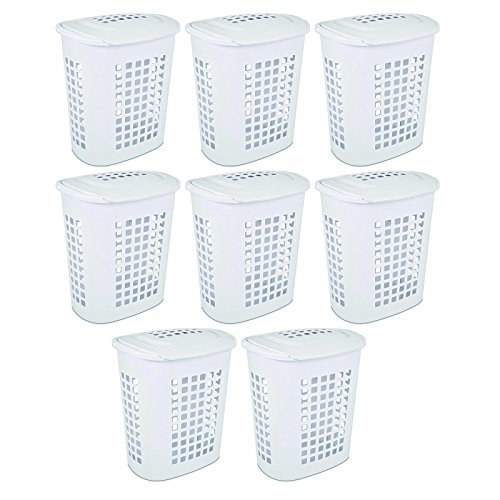 Sterilite 2.3 Bushell 81 Liter Lift Top XL Laundry Basket Hamper, White (8 Pack) by Sterilite