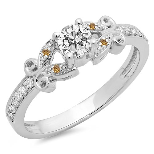 0.50 Carat (Ctw) 14K Gold Round Champagne & White Diamond Bridal Vintage Engagement Ring 1/2 CT