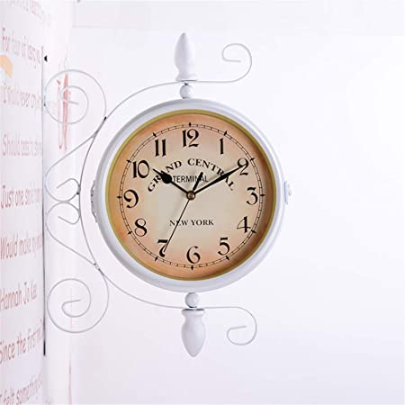 Fengfeng Reloj de Soporte, Relojes Exterior Jardín Exterior Reloj de Dos Caras Hierro Art Silent Vintage Craft Clock para Uso en Interiores y Exteriores - 12 Pulgadas,a: Amazon.es: Hogar