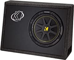 "Kicker 10TC104 10"" Ported Truck Enclosure with 1 Comp Subwoofer This Ported Truck Enclosure includes a pounding 10"" Comp Subwoofer and a sturdy built Ported Enclosure made of 3/4"" fiberboard with a carpeted finish. It's a great addition to an..."