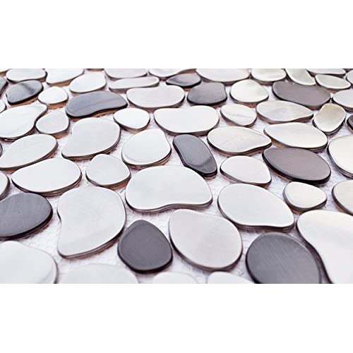 Silver/Black River Rock Pattern Mosaic Stainless Steel Tile 70%OFF