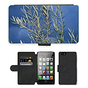PU Cuir Flip Etui Portefeuille Coque Case Cover véritable Leather Housse Couvrir Couverture Fermeture Magnetique Silicone Support Carte Slots Protection Shell // M00155365 Antecedentes Olivier rama de olivo // Apple iPhone 4 4S 4G