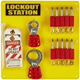 Brady Padlock, Hasp, and Tag Lockout Station, Includes 10 Safety Padlocks