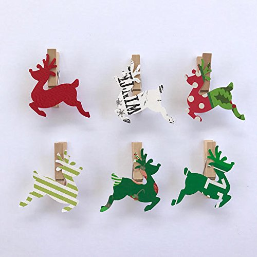(Sweet Thymes Reindeer Clothespins Christmas Decoration Kit Paper Cutouts Holiday Party Favors Gift Tag Party Clips Card Holder)