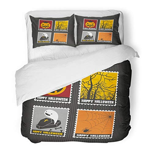 Emvency Bedding Duvet Cover Set Full/Queen (1 Duvet Cover + 2 Pillowcase) Collection of Cute Colorful Stamps with Halloween Typical Characters and Monsters Hotel Quality Wrinkle and Stain Resistant -