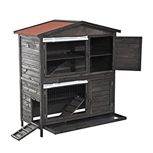 PawHut - conigliera de exterior a dos estantes jaula para conejos ...