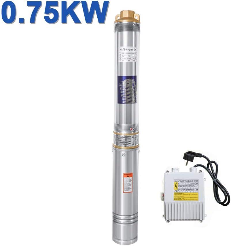 Hengda 0,75kW Brunnenpumpe - Hengda 0.75kW/1hp Tiefbrunnenpumpe bis 4.000 l/h Fördermenge Edelstahl Brunnenpumpe Sandverträglich Tauchdruckpumpe 6.7 bar max