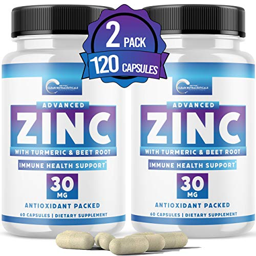 Zinc 30mg [Triple Potency] Supplement – Immune Support System from Natural Zinc Oxide, Turmeric & Beet Root, 120 Capsules