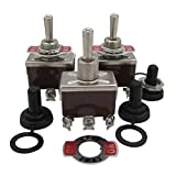 3pcs Univeral Heavy Duty 20A 125V DPDT 6 Terminal ON/OFF/ON Rocker Toggle Switch Metal + 3pcs Waterproof Cover 2 Years Warranty Ten-1322