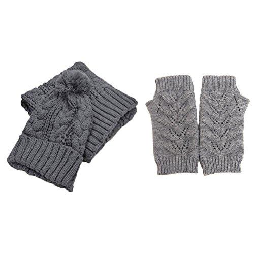 Jelinda Women's Autumn Winter Warm Knitted Hat/Scarf/Gloves Set, Grey by Jelinda