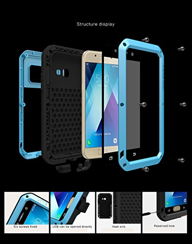 Samsung A3 2017 Funda, Love Mei Extreme Alta Resistencia Protector Shockproof Military Heavy Duty Carcasa con cristal de gorila para Samsung Galaxy A520 A5 2017 Version (plata) azul