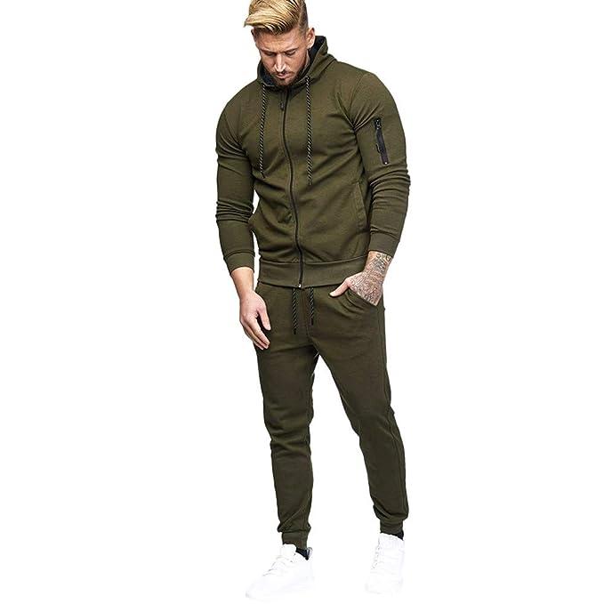 ff957f81db33 Limsea Men s Autumn Patchwork Zipper Sweatshirt Top Pants Sets Sports Suit  Tracksuit(Green
