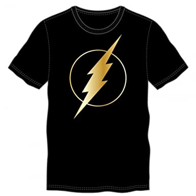 Amazon.com: DC Comics Flash Gold Foil Logo Adults Black T-Shirt ...