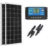 SUNGOLDPOWER 200 Watt 12V Monocrystalline Solar Panel Module:2pcs 100W Monocrystalline Solar Panel+20A