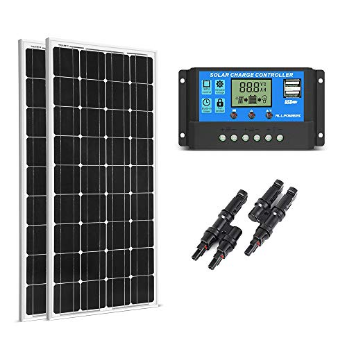 SUNGOLDPOWER 200 Watt 12V Monocrystalline Solar Panel Module:2pcs 100W Monocrystalline Solar Panel Solar Module Solar Grade A Cell+20A LCD PWM Charge Controller Solar+MC4 Parallel Connector