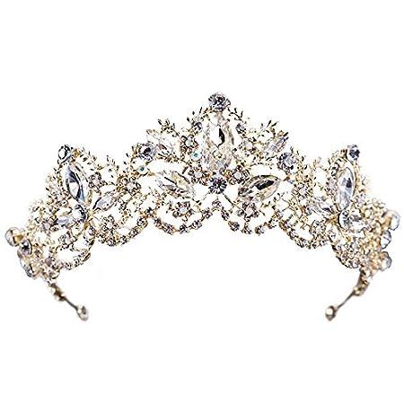 Amazon.com: 1 corona de oro para novia, boda, perlas de ...