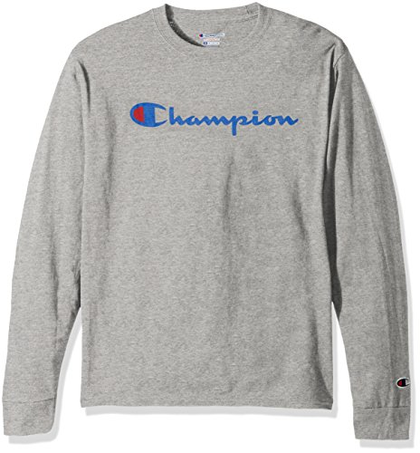Champion LIFE Men's Cotton Long Sleeve Tee, Oxford Gray/Patriotic Script, Medium ()