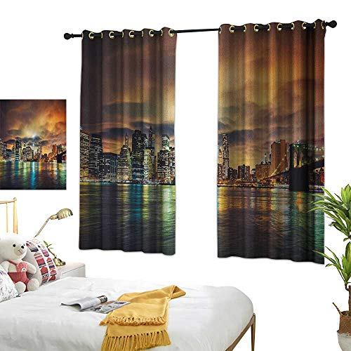 LsWOW Restaurant Curtain W63 x L63 City,Fantasy Dramatic Sky in New York at Nighttime Stormy Sunset Vibrant Water Reflections, Multicolor Room Darkening Curtains for -