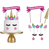 مجموعة زينة كعكة عيد الميلاد بتصميم يونيكورن وزهور وحواجب، مجموعة زينة كعكة عيد ميلاد سعيد منزلية الصنع للأطفال