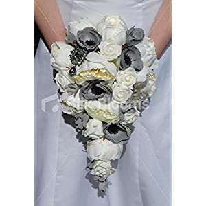Ivory & Grey Teardrop Bridal Bouquet w/ Roses Peonies & Anemones 21