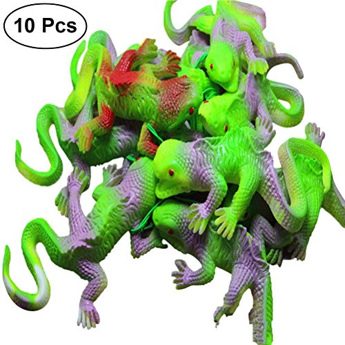 Tuersuer Wedding Festival Party Decoration 10pcs Realistic Rubber Chameleon Novelty Scare Toys for Halloween Party Props (Mixed Color)