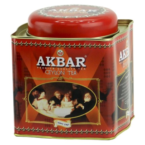 Akbar | Ceylon Supreme Tea | Ceylon Black Tea | Premium Loose Leaf | Single Origin |Non GMO | Rich & Robust | 250g / 8.75 oz. tin Caddy | 125 servings (Wholesale Loose Leaf Tea)