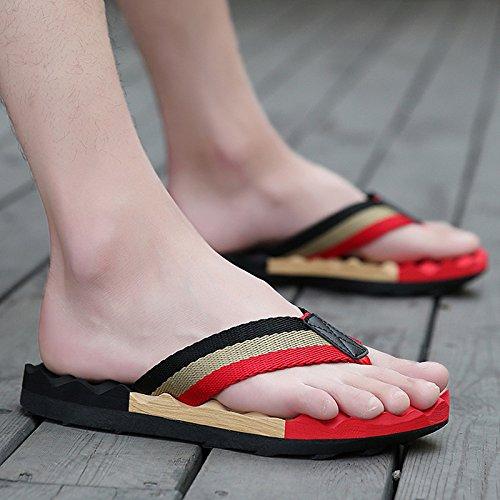 Xing Lin Sandalias De Hombre La Pendiente Con La Hembra Verano Zapatillas Nuevas Fuera De Tacón Sandalias Y Pantuflas Sandalias De Cuero De Mayor Grosor Black and red