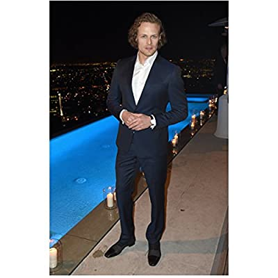 Sam Heughan Hands Clasped Looking Dapper by Pool 8 x 10 inch Photo