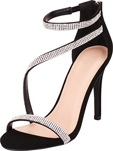 b562cf281f Cambridge Select Women's Open Toe Strappy Crystal Rhinestone Stiletto Heel  Dress Sandal,8 B(