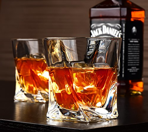 Twist Whiskey Glasses - Set of 4 - by Vaci + 4 Drink Coasters, Ultra Clarity Crystal Scotch Glass, Malt or Bourbon, Glassware Gift Set by Vaci Glass (Image #4)