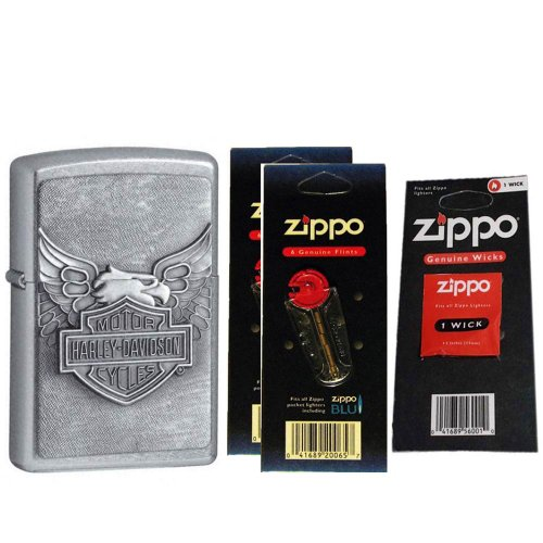 (Zippo 20230-HD Street Chrome Iron Eagle Emblem Windproof Lighter with Two Flint Card and One Wick)