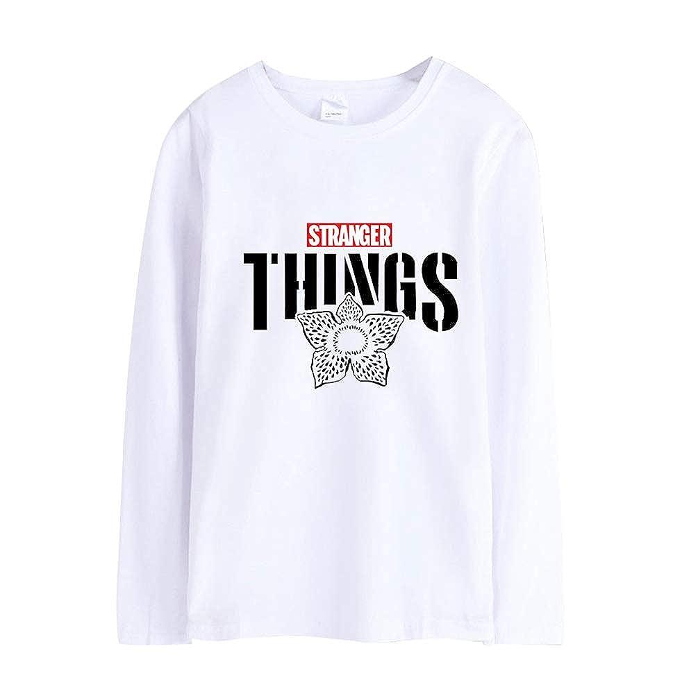 Ketamyy Uomo Donna Stranger Things Manica Lunga Magliette T Shirts Basic Sciolto Girocollo EU Taglia Adolescenti Ragazza Ragazzo Scritte Stampa Tee Shirt Top