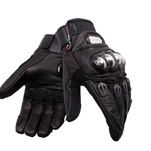 Wincom Dishman Motorcycle Gloves Motorcycle Driving Genuine Leather Full Finger Gloves Motocross Racing Pro-Biker MCS-06 - (Size: M)