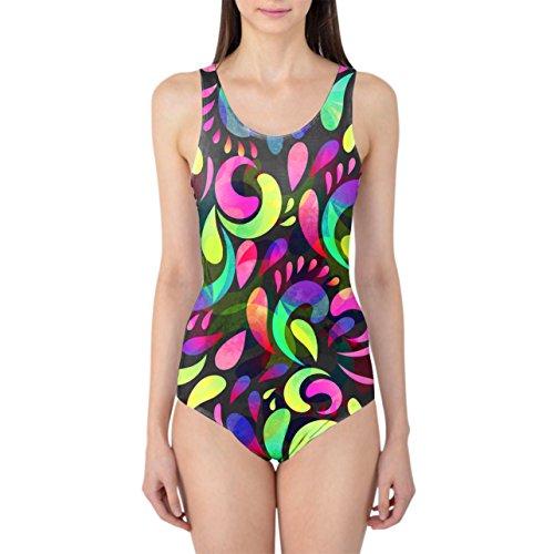 Neon Watercolor Swirls Women's Swimsuit Badeanzug XS-3XL 2KOOgJTc