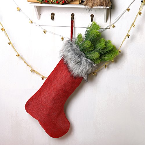 ITOMTE Swedish Elegant Christmas Stockings with Greeting Card - Home Decorations Gift/Treat Bags, (Red Christmas Stocking)