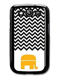 AMAF ? Accessories Chevron Pattern Black & White Elephant case for Samsung Galaxy S3
