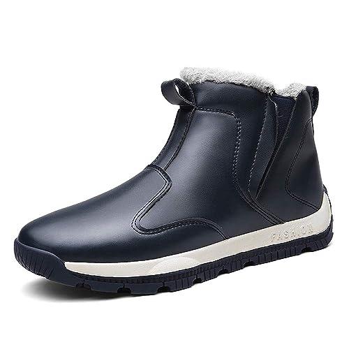 LANSEYAOJI Botas de Nieve Hombres Invierno Al Aire Libre Cálido Botines Fur Forrado Calentar Zapatos de Deportivos Moda Zapatos de Cuero Casual Impermeable ...