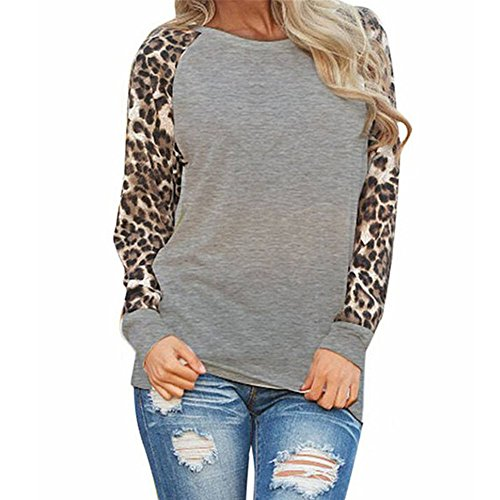 Shusuen Women's Round Neck Tunic Tops Casual Long Sleeve Leopard Shirt Blouse Gray (Lord Of The Rings Extended Edition Differences)