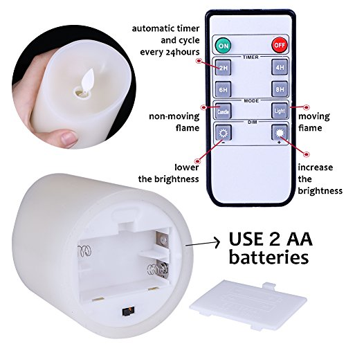 Flameless Candles Flickering Light Pillar Real Smooth Wax with Timer and 10-key Remote for Wedding,Votive,Yoga and Decorationset of 6 by ZTD (Image #2)
