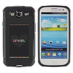 Suave TPU Caso Carcasa de Caucho Funda para Samsung Galaxy S3 I9300 / Heart Love Grey Brushed Metal / STRONG