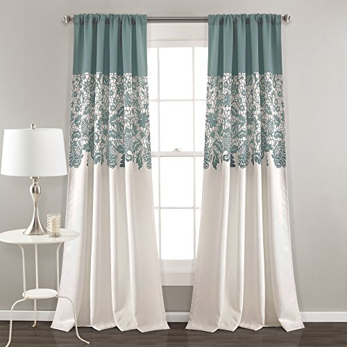 Lush Decor Estate Garden Print Room Darkening Window Curtain Panel Pair, 84