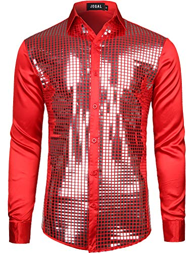 JOGAL Mens Dress Shirt Silver Sequins Long Sleeve Button Down 70s Disco Shirt Party Costume X-Large A348 Red -