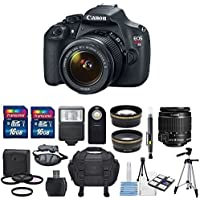 Canon EOS Rebel T5 18MP DSLR Digital Camera - US Warranty & Canon EF-S 18-55mm f/3.5-5.6 IS II + HD 58mm wide angle & Telephoto professional Lens & Total of 32 GB SDHC Class 10 + Deluxe Bundle Overview Review Image