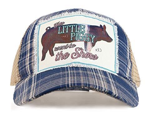 Southern Junkie Jp Adjust. Pig Little Piggy Farm Ag Stock Show Vintage Hat Cap Blue (Plaid Navy Blue Tan Brown Trucker Mesh Vented)